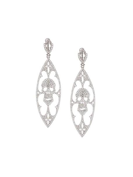 Loree Rodkin skull women earrings silver grey metallic jewels