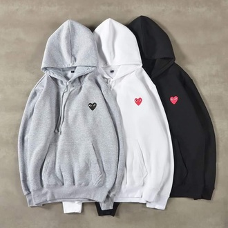 sweater grey comme des garcons fashion love adidas logo heart basis casual