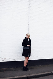into the fold,blogger,black coat,chunky boots,dress,shoes,coat,bag,t-shirt