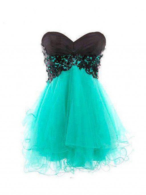 Princess strapless short/mini organza blue homecoming dress with appliques napd0004 sale at shopindress.com