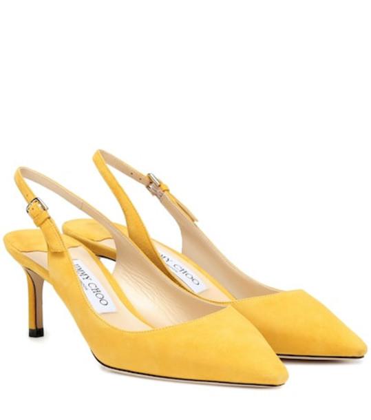 Jimmy Choo Erin 60 suede slingback pumps in yellow