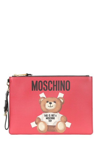 Moschino leather clutch bear bag clutch leather