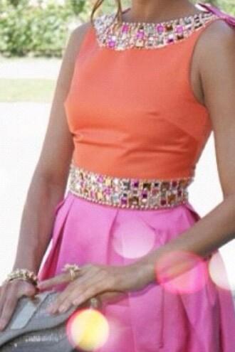 dress pink orange gems cute dress pink and orange dress preppy dress preppy sparkle sparkling dress eva mendes