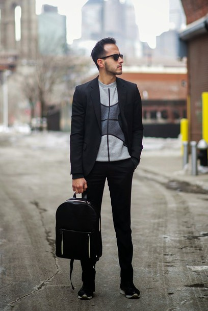 the metro man blogger sweater sunglasses bag