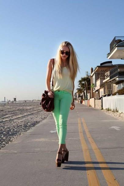 top shoulder bag summer outfits mint pants
