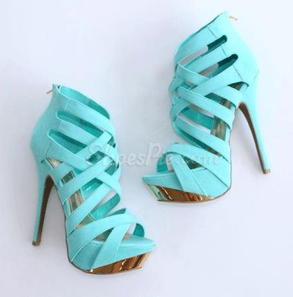 Gorgeous Blue Coppy Leather Cut-Outs Platform High Heel Sandals