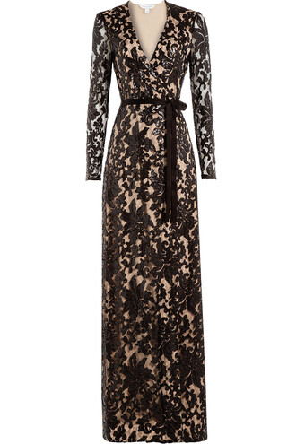gown embellished lace brown dress