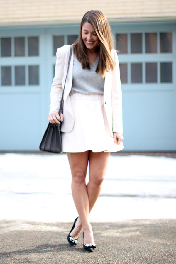 sequins and stripes jacket sweater skirt shoes jewels