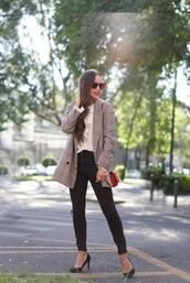 sunglasses,tumblr,heart sunglasses,red sunglasses,denim,jeans,black jeans,skinny jeans,blazer,plaid,plaid blazer,pumps,blouse
