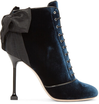 bow boots navy velvet shoes