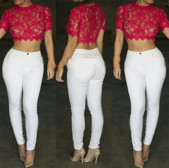 blouse ayamare skinny/red the world looks red short sleeves lace red lace crop black crop top iwantit iwantthissobad ineedthese victoria's secret bronx brooklyn we go hard jennifer lopez made in manhattan. manhattan