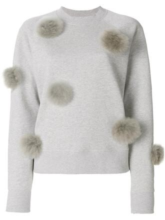 sweatshirt cropped women cotton grey sweater