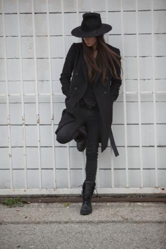 coat black celebrity brunette black jeans black pants black jacket little black boots outfit edgy cool fashion style black top boots black combat boots hat suave