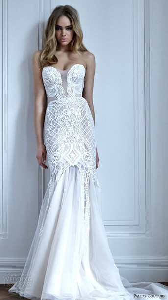 dress, white dress, bustier dress, bustier wedding dress, lace dress ...