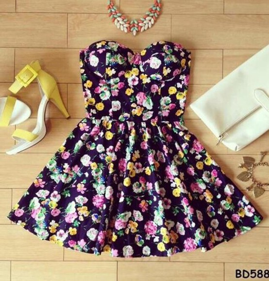 yellow shoes floral dress