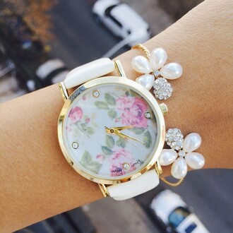 jewels cuff ishopcandy pearl bracelets floral flowers floral watch flower watch rose watch roses rose cuff bracelet