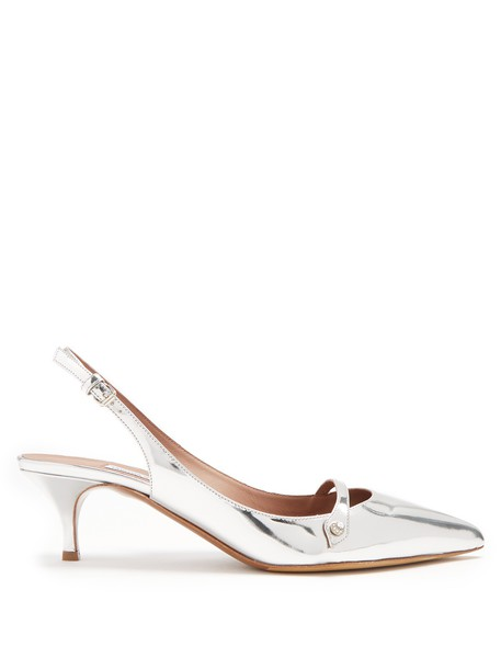 tabitha simmons heel pumps leather silver shoes