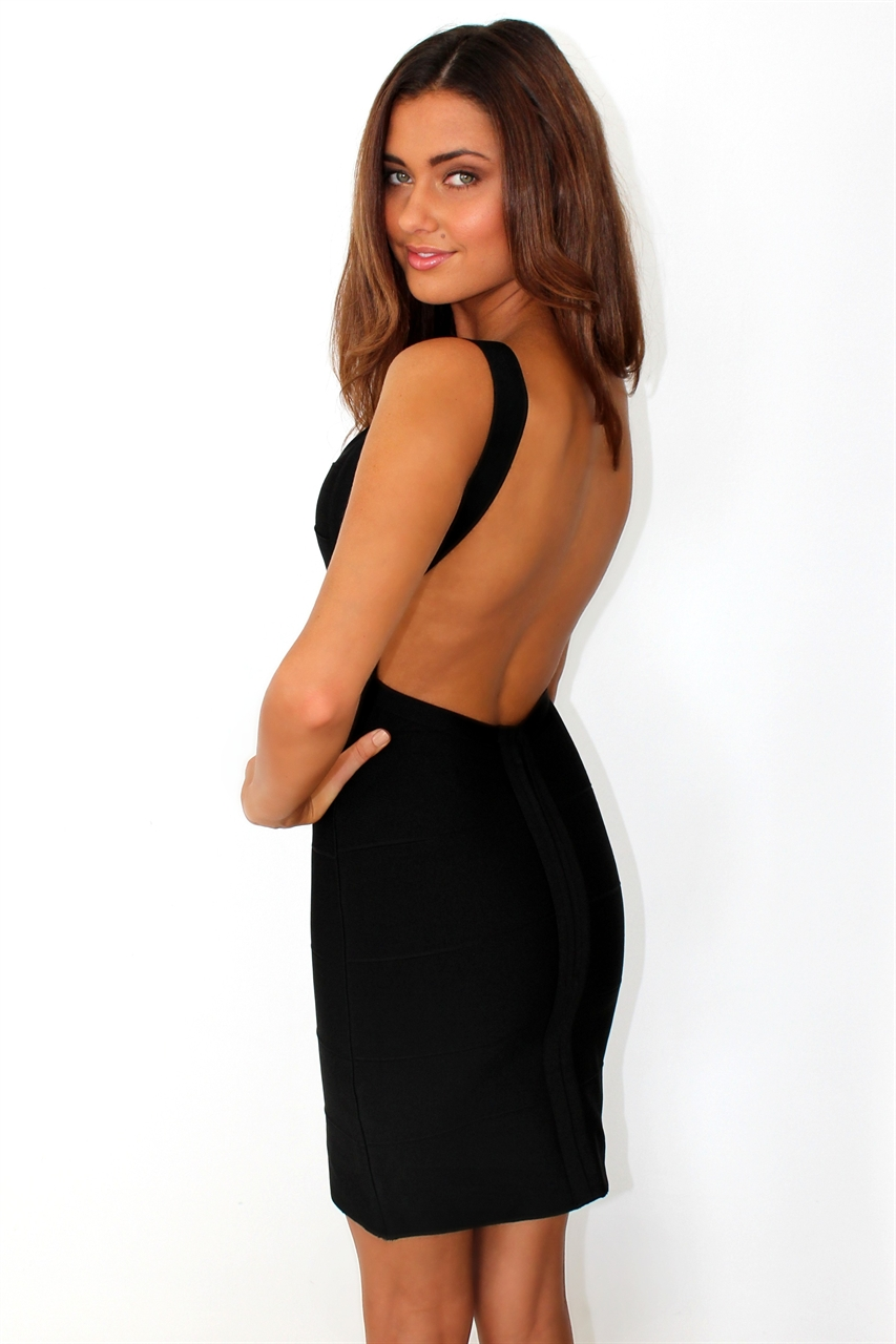 Deja Boutique. 'Sapphire' black backless bandage dress