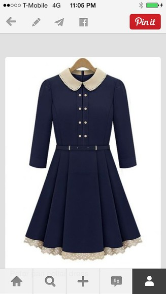 dress peter pan collar dresses white navy black bow stripes strapless vintage design bottom peter pan collar dress