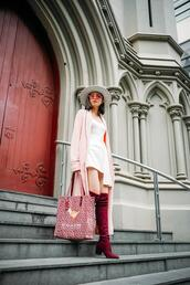 olivia lazuardy,blogger,hat,bag,shoes,boots,thigh high boots,mini dress,spring outfits