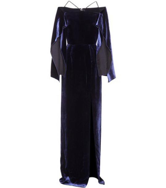 Roland Mouret gown velvet blue dress