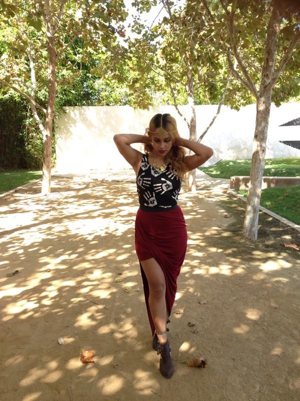 skirt draped skirt burgundy skirt irregular skirt burgundy asymmetrical skirt maxi skirt slit skirt double slit skirt blouse