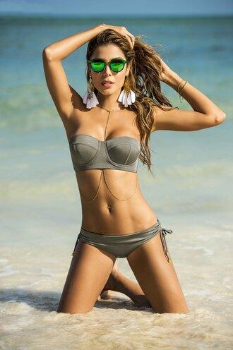 swimwear phax swimwear bikini underwire top taupe taupe bikini bandeau top string bottom cheeky coverage strapless