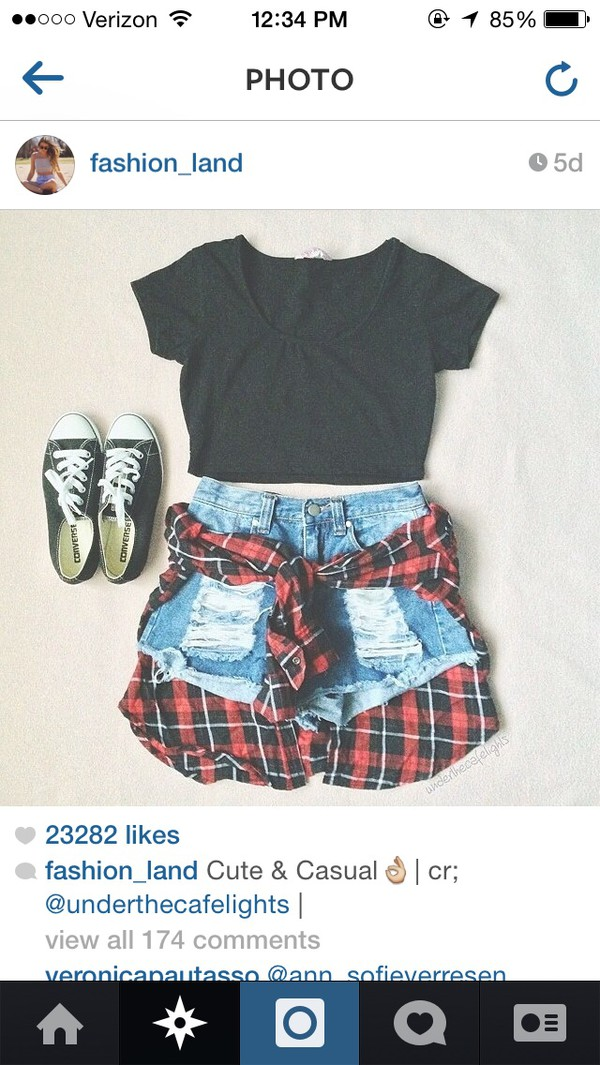 flannel crop tops High waisted shorts converse converse summer outfits
