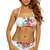 White Floral Print Halter Sexy Two Piece Swimsuit