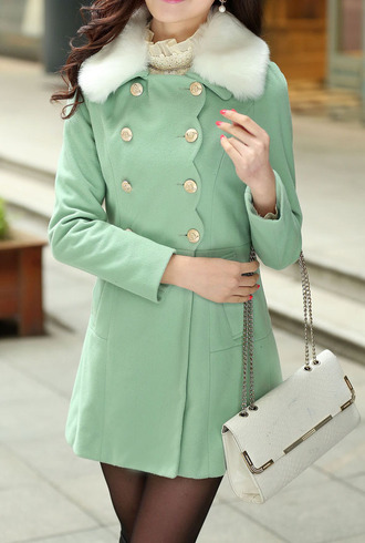 coat mint fur scallop double breasted