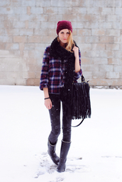 love,blair,shirt,pants,bag,scarf,shoes,hat,jewels,fringed bag,flannel shirt,rainboots,wellies