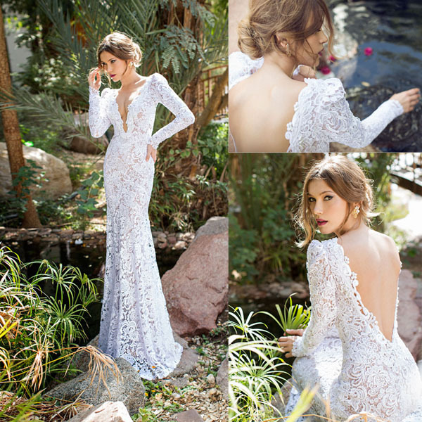 Aliexpress.com : buy sexy white deep v neck long sleeve lace mermaid open back sweep train bridal dresses 2015 wedding dress fast delievery d027 from reliable dress patchwork suppliers on mydress studio