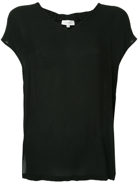 Ck Calvin Klein t-shirt shirt t-shirt women black silk top