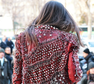 jacket streetstyle london lond hair girl punk rock chic safety pins designer haute couture leather jacket embellished leather jacket