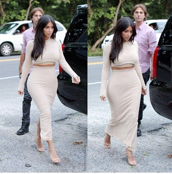 skirt kim kardashian nude maxi skirt crop tops