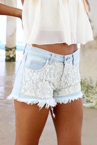 shorts ustrendy ustrendy shorts denim shorts lace overlay lace shorts