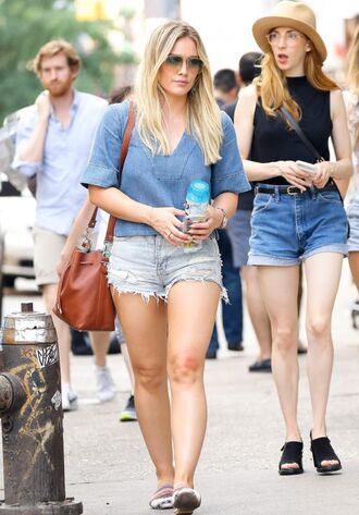 top blouse hilary duff streetstyle denim shorts sunglasses shorts