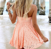 dress,peach dress,pink dress,summer dress,peach dress summer spring,mini dress,lace,pink,orange,cream,sundress,peach,flowers