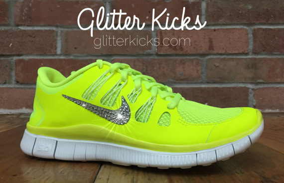 Nike Free Run 5.0 Glitter Kicks Blinged Out Running Shoes Hand ... 11fa1b60d614