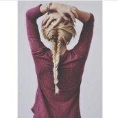 sweater,top,tank top,hairstyles,date outfit,hair/makeup inspo,shirt,blonde hair,hair,burgundy,jumper,tumblr,watch,mesh,burgundy dress,cozy sweater,instagram,michael kors,blouse