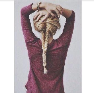 sweater top tank top hairstyles date outfit hair/makeup inspo hair burgundy jumper tumblr watch blonde hair fishnet burgundy dress cozy sweater instagram michael kors blouse shirt
