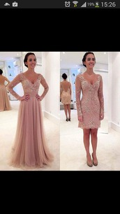 dress,rose,pink,flowers,prom,long,prom dress,love,amazing,beautiful,long sleeves prom dress,homecoming dress,evening dress,two pieces prom dress,v neck dress,maxi,cream,maxi dress,special occasion dress