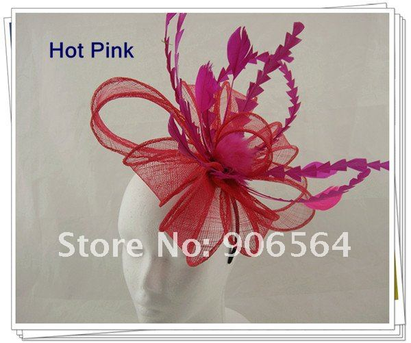 Free shipping Retail hair comb sinamay fascinator hats, feather hair accessories,8 color are avaliable,RMSF101-in Apparel & Accessories on Aliexpress.com