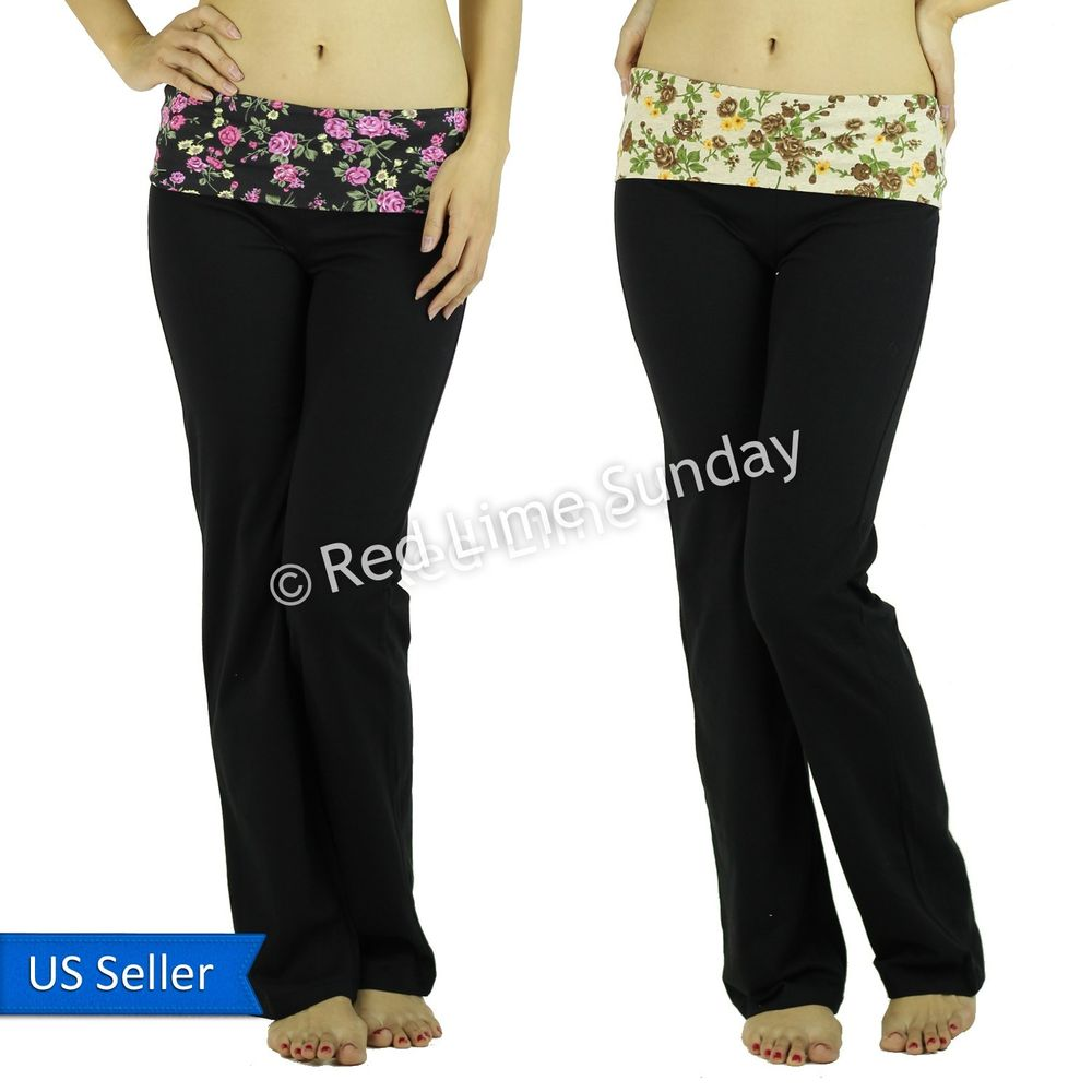 Floral Print Black Taupe Fold Over Waist Yoga Pants Leggings Gym Sweat Bottoms