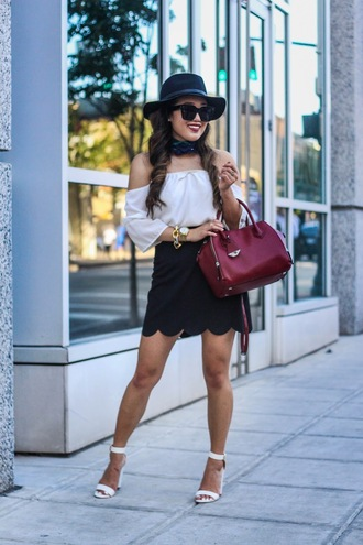 gracefullee made blogger skirt top scarf sunglasses bag shoes jewels hat make-up date outfit off the shoulder off the shoulder top red bag scalloped mini skirt black skirt black sunglasses