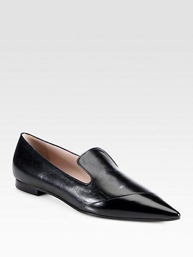 Miu Miu - Vitello Shine & Spazzolato Leather Loafers - Saks.com