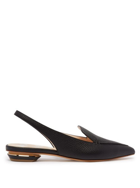 Nicholas Kirkwood - Beya Slingback Grained Leather Loafers - Womens - Black