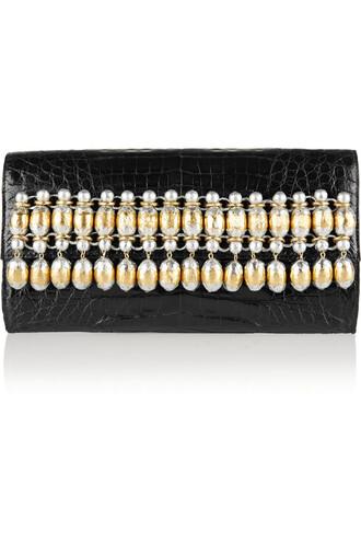 embellished clutch crocodile metallic black bag