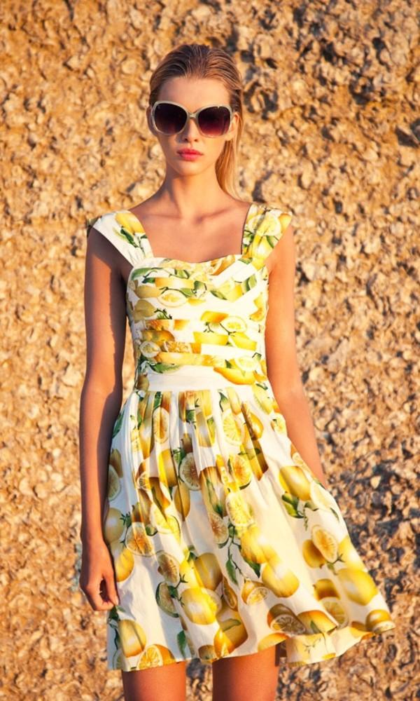 yellow dress white dress fruits dress dress primark lemon print lemons summer dress