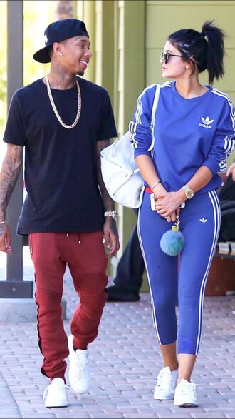 sweater adidas kylie jenner blue sweater tracksuit sportswear adidas tracksuit blue tracksuit pants yoga pants romper